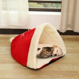Christmas Hat Pet Nest Bed Soft Warm Cave House Sleeping Bag For Pet Cat Dog