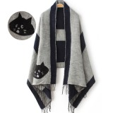 Thick Velvet Fringed Cat Pattern Casual Shawl Party Shawl Scarf