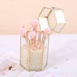 Geometric Glass Makeup Brush Jewelry Box Holder Makeup Organizer Desktop Cosmetic Storage Box Pearls Barrel