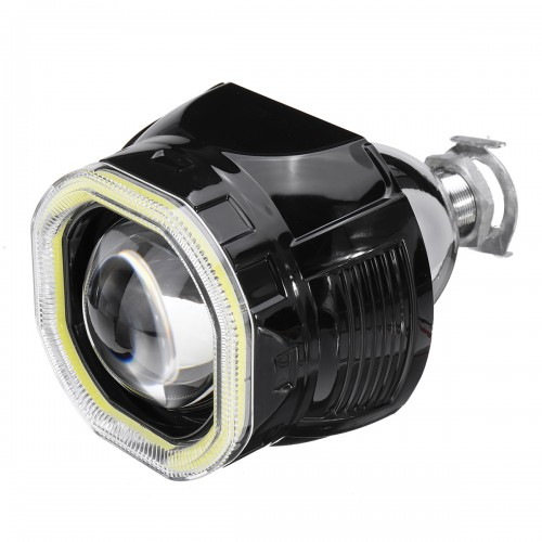 2.5 Incn Car COB LED Angel Eyes Halo Headlight Day Running Lights DRL HID Xenon Projector Lens Kit Square For LHD