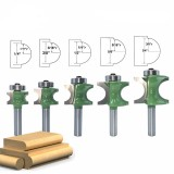 Drilpro 5pcs 8mm Shank Round Over Router Bit 1/4 to 5/8 Inch Woodworking Edging Router Chisel Groove Cutter