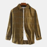 Mens Plaid Fashion Practical Pocket Long Sleeve Casual Shirts