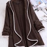 Women Long Sleeve Solid Color Irregular Hem Casual Coats