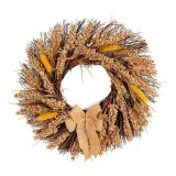 Fall Wreath Front Door Artificial Grain Autumn Wreath Harvest Gold Wheat Ears Circle Garland Fall Home Decorations