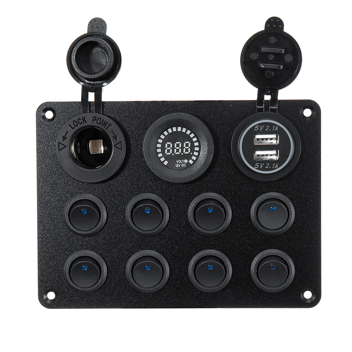 Green LED EBTOOLS Toggle Switch Panel,12-24V 5 Gang On//Off Toggle Switch Panel Dual USB Voltmeter for Car Boat Marine Truck