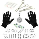 41PCS Body Piercing Tool Kit Ear Nose Navel Nipple Needle Scissors Set