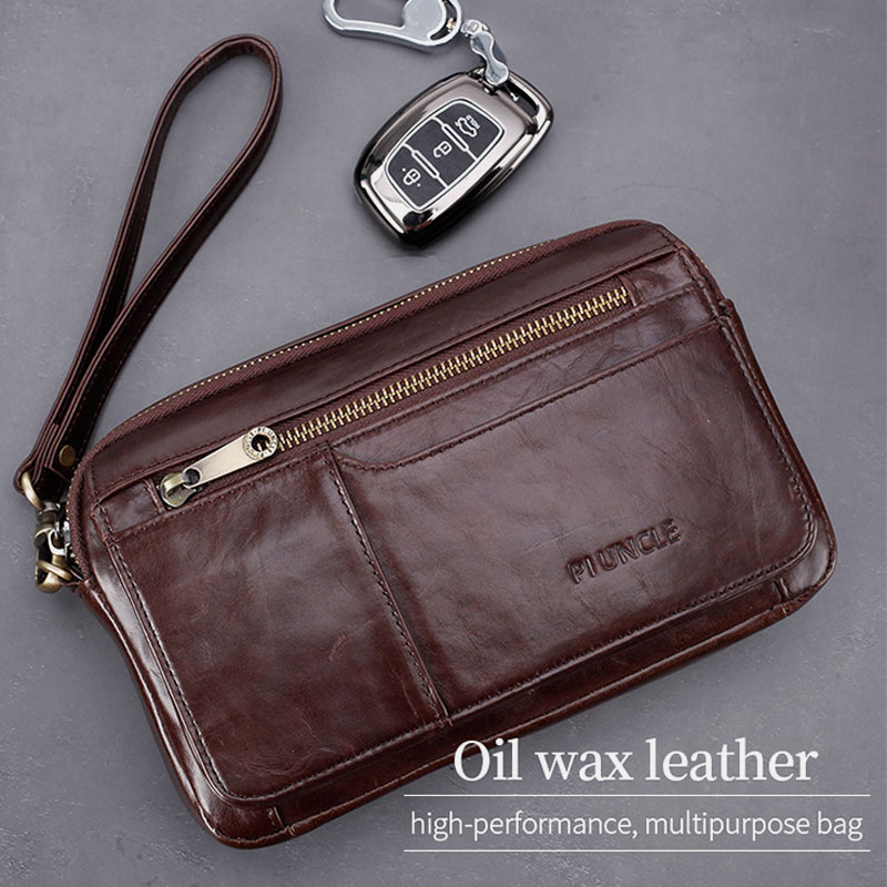Men Genuine Leather Large Capacity Clutches Bags Business Bag For Outdoor Business