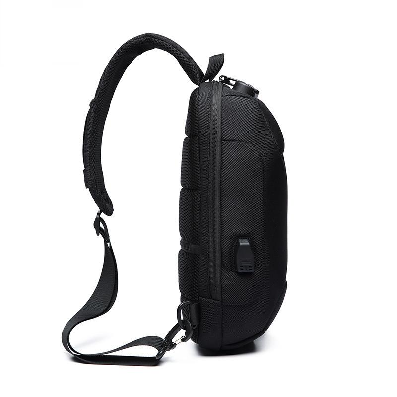 OZUKO Chest Bag USB External Charging Anti-theft Crossbody Bag Waterproof Shoulder Bag for Camping Travel