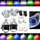 2.5 Inch H1/H4/H7 Bi-Xenon HID Projector Headlights Conversion Kit with Lens CCFL Angel Eyes Halo Ring Lights Shroud RHD