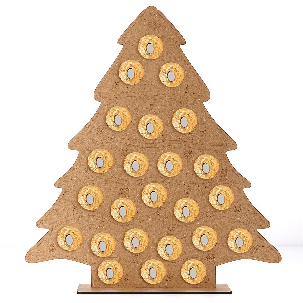 Mdf Wooden Christmas Advent Calendar Christmas Tree Decoration Fits 24 Circular Chocolates Candy Stand Rack Alexnld Com