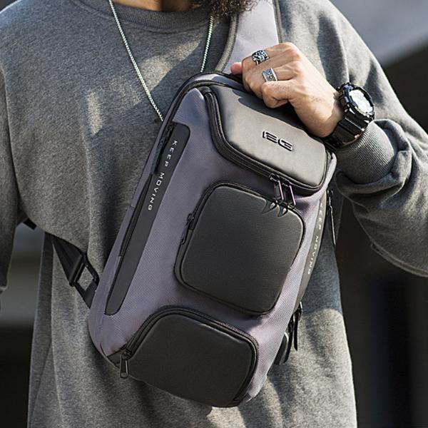 BANGE BG-7086 8L USB Anti Theft Chest Bag Oxford Cloth Men Shoulder Bag Travel Crossbody Bag