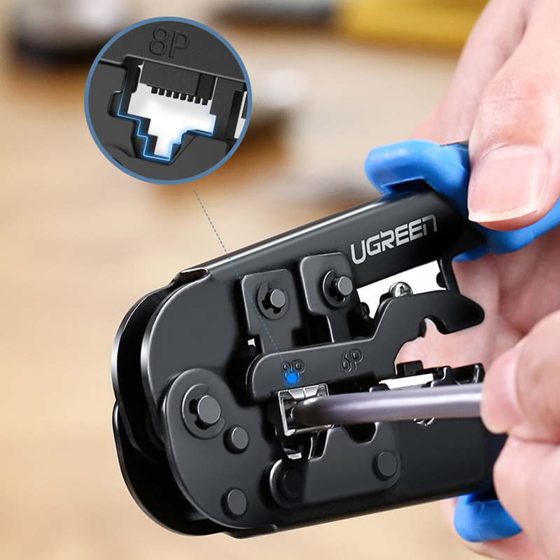 UGREEN ZJ307 RJ45 Cat6 Cat7 4/6/8P Crimper Plier Multi-function Cable Clamp Stripper Pressing Trimming Cable Clamp Plier