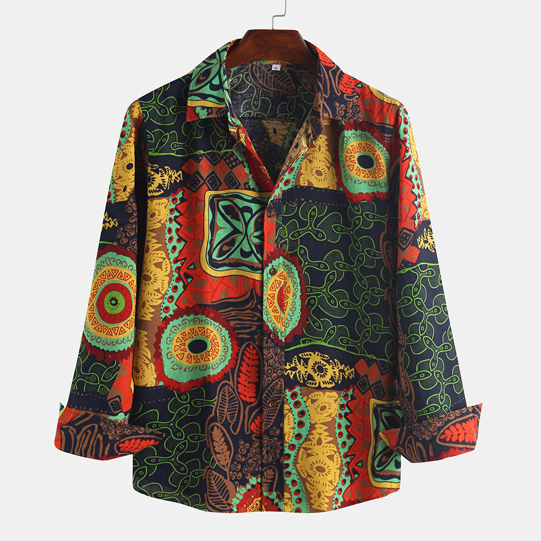 Mens Ethnic Printing Loose Turndown Collar Long Sleeve Casual Shirts