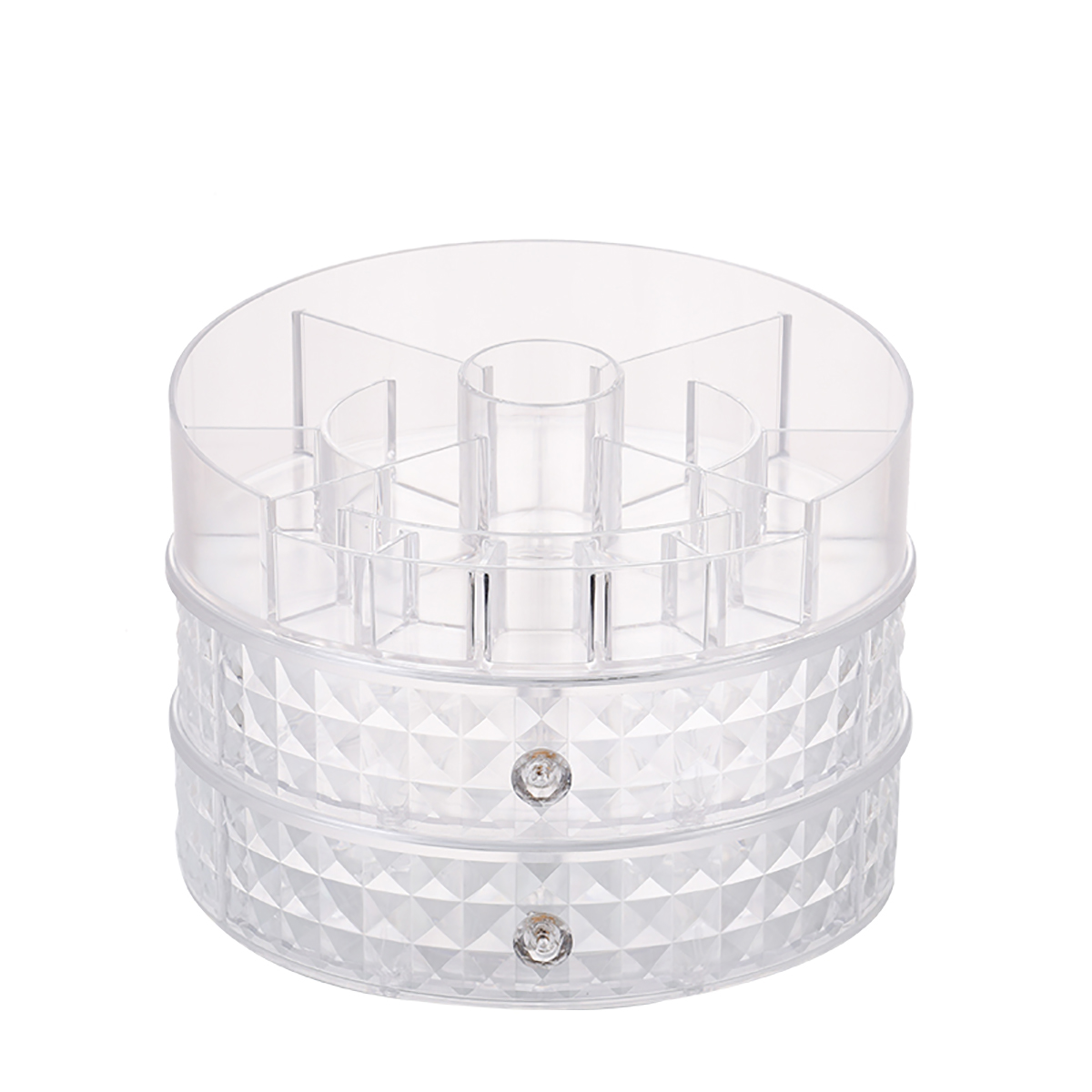 360 Degrees Rotating Cosmetic Storage Box Desktop Home Skin Care Organizer Storage Rack Dressing Table 1 / 2 Layers