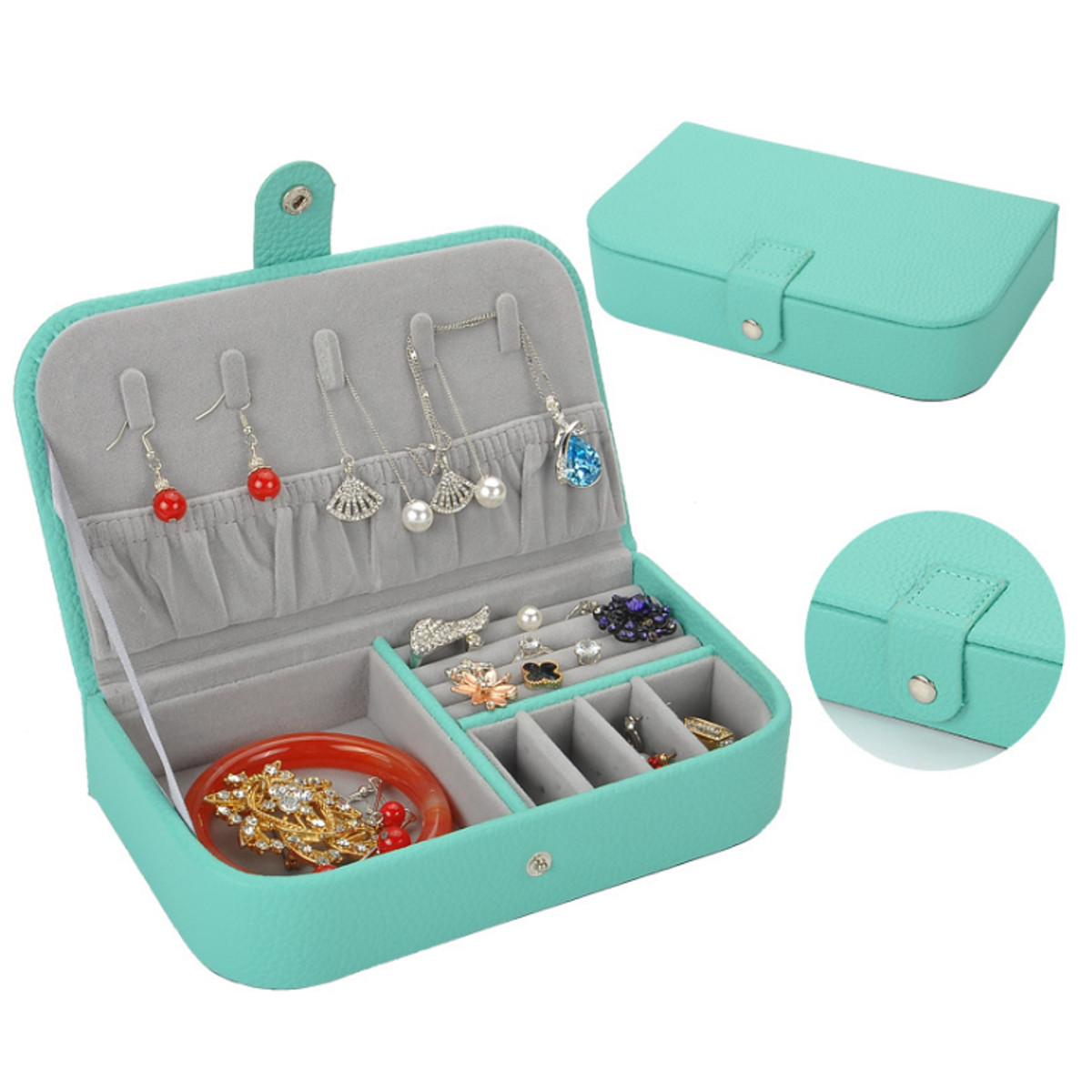 Litchi Pattern Jewelry Box Leather Earrings Storage Cases For Girl Portable Monolayer Jewelry Organize Travel Casket Alexnld Com