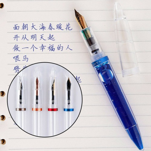 C3 Transparent Acrylic Eyedropper Fountain Pens Refillable Ink Pen Calligraphy Pens Fine Nib 0.5mm Writting Pen for School
