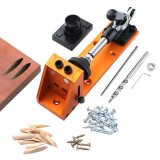 Pocket Hole Jig 9.5mm Dowel Jig Aluminum Alloy Hole Drill Guide With Quick Fixed Clamp Base For Drilling Woodworking Tools