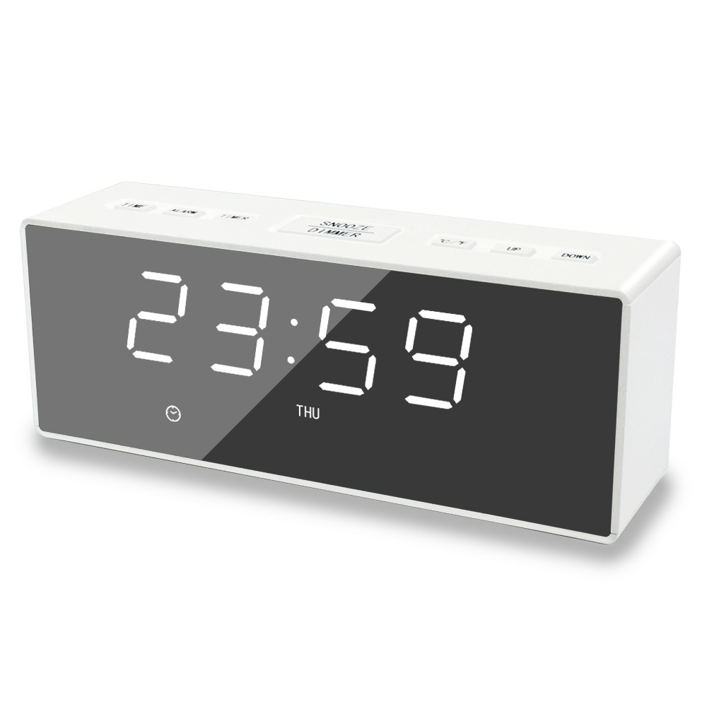 EK8609 Digital Alarm Clock Timer LED Mirror Snooze Table Clock Electronic Time Date Temperature Display Home Decorations