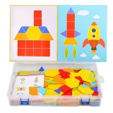 170PCS Wooden IQ Game Jigsaw Early Learning Educational Tangram Puzzle Kid Toy