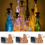 Outdoor 1M 10LED Square Bottle Cork Copper Wire Fairy String Light Solar Powered Christmas Holiday Party Lamp