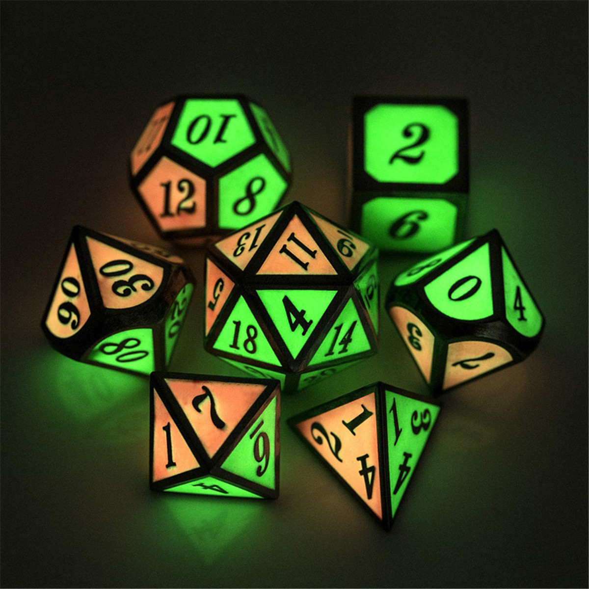 7pcs Polyhedral Dice Zinc Alloy Dice Set Heavy Duty Dices For Role Playing Game Dice Set