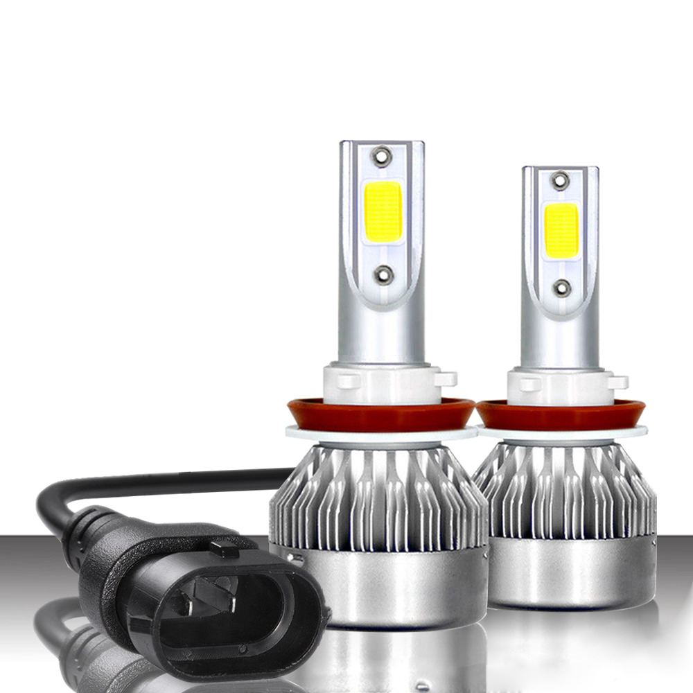 C6MAX 72W Car COB LED Headlights Bulb H1 H4 H7 H8/H9/H11 9005 9006 9012 H13 7600LM 6000K Cool White 2PCS Upgraded From C6