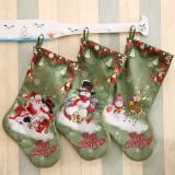 Loskii Christmas Socks Gift Bag Christmas Decorations Large Printed Christmas Socks Gifts Candy Socks Hanging Ornaments