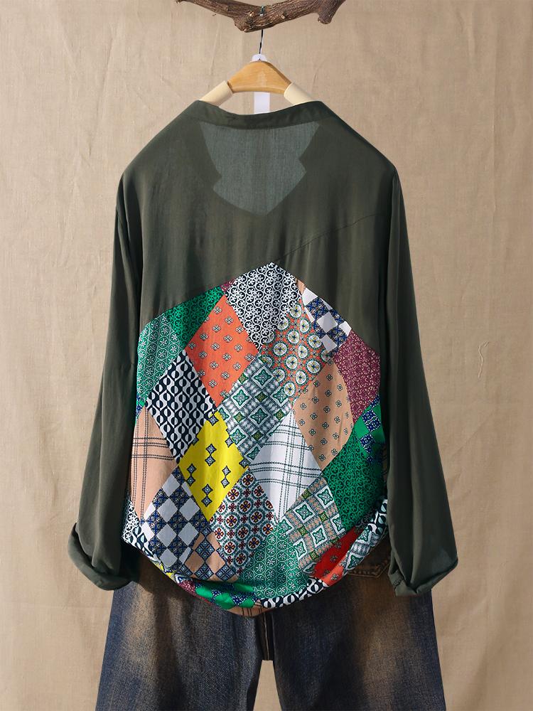 Hit Color Ethnic Print Patchwork V-neck Plus Size Shirts