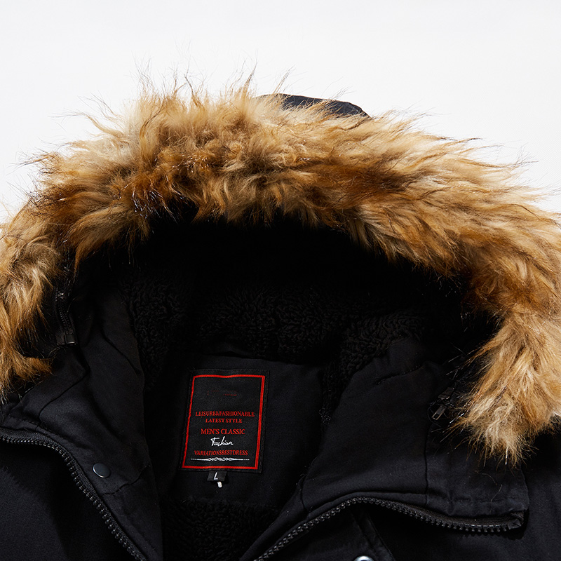 Mens Winter Zipper Pockets Hooded Windproof Warm Thickened Mid Long Casual Coats