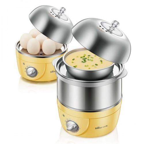Bear ZDQ-2153 Egg Boiler Automatic Power Off Mini Egg Steamer Double Layer Stainless Steel Timer