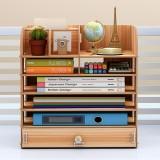 Wooden File Books Holder Bookshelf Desktop Organizer Storage Shelf File Tray Pen Pencil Holder Office School Home Supplies