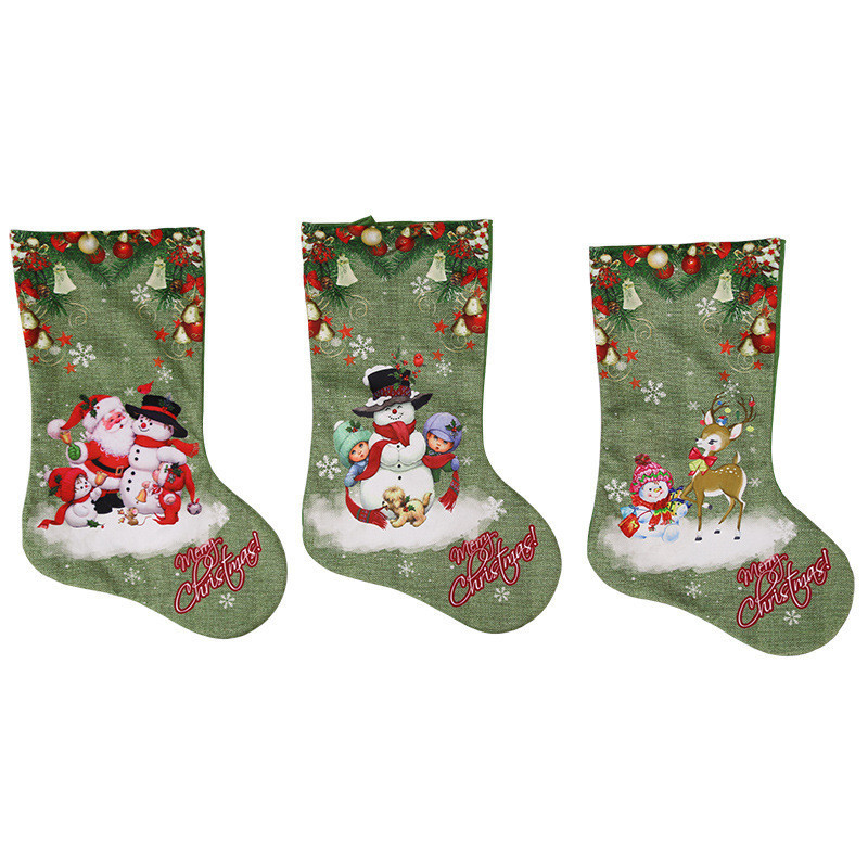 Loskii Christmas Socks Gift Bag Christmas Decorations Large Printed Christmas Socks Gifts Candy Socks Hanging Ornaments