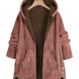 Women Long Sleeve Zipper Hooded Fleece Side Button Coats With Pocket