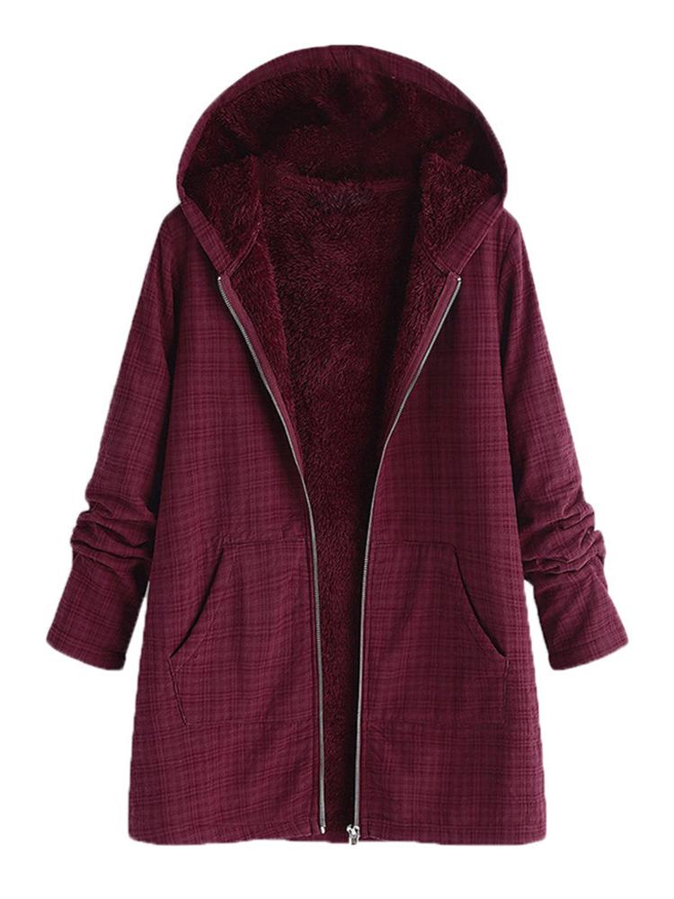 Women Fleece Long Sleeve Plaid Casual Coats With Pocket