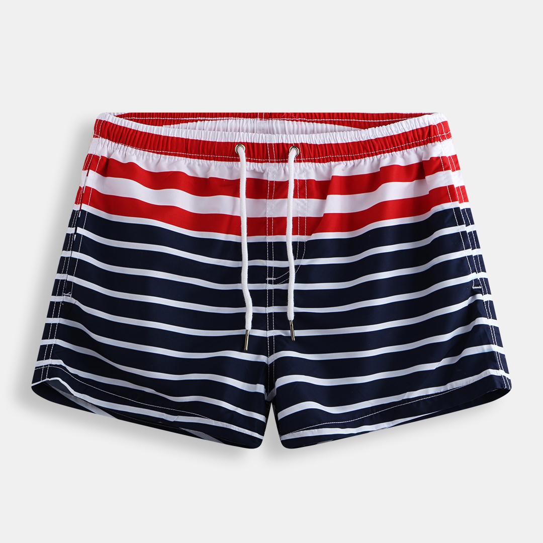 Mens Striped Knitting Board Shorts Casual Fishing Beach Shorts With Pockets