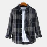 Mens Vintage Plaid Pocket Long Sleeve Turn Down Collar Causal Shirts