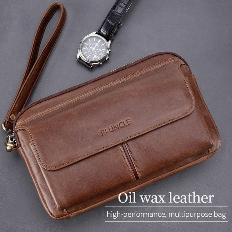 Men Vintage Genuine Leather Large Capacity Crossbody Bag Clutches Bag