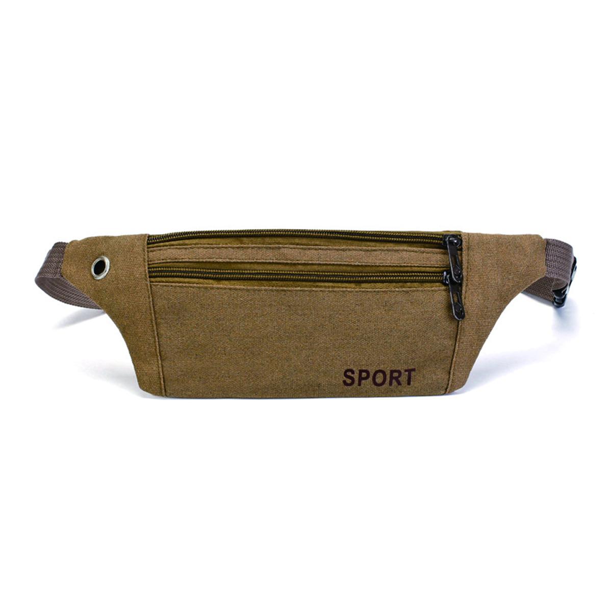 Unisex Canvas Waist Bag Waist Belt Bag Fanny Pack Hip Pouch Travel Sports Phone Pocket