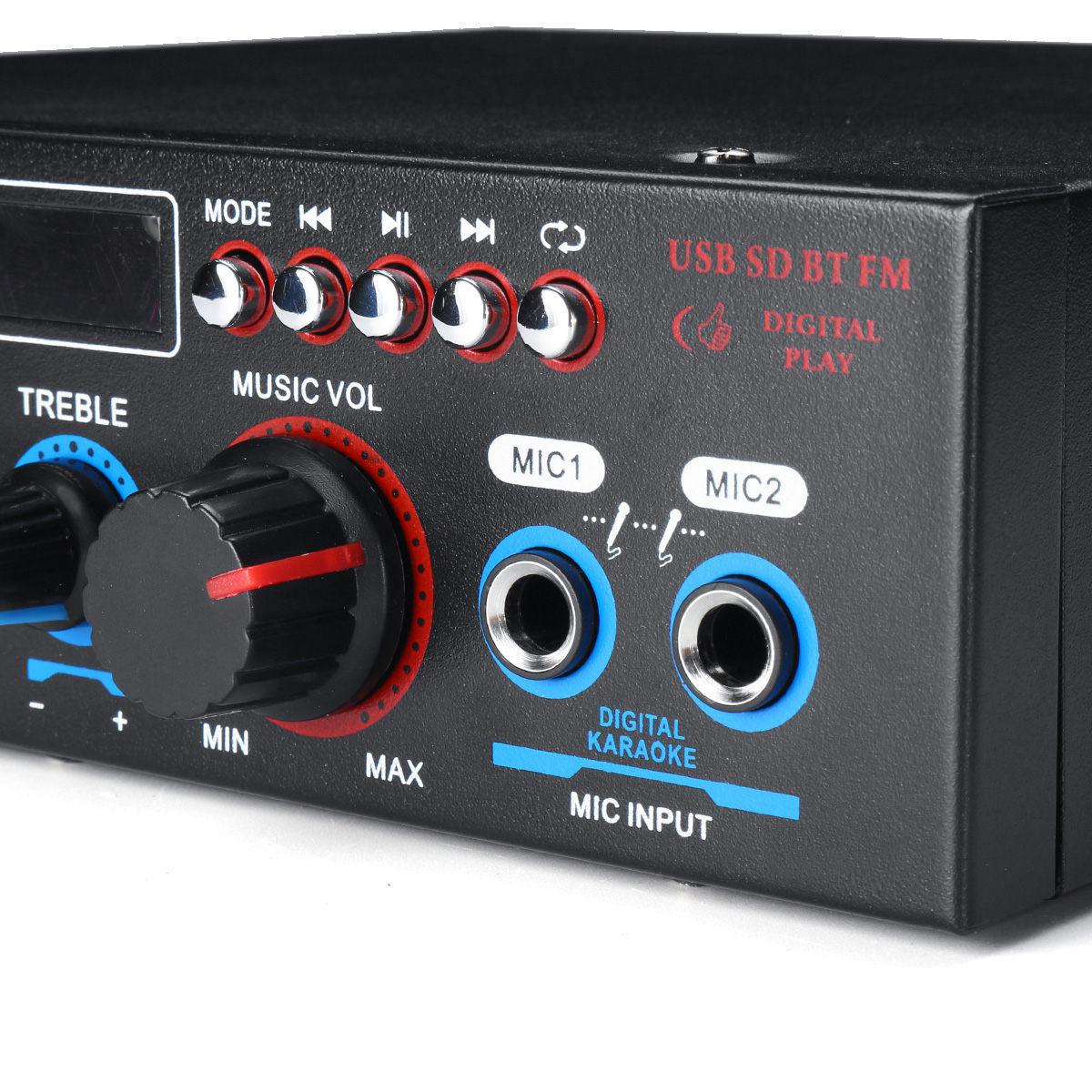 BT-309A 220V 800W 2CH Home Stereo bluetooth Amplifier Support USB FM AUX MIC Microphone
