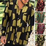 Mens Hawaiian Beach Long Sleeve Shirt Linen Hippy Casual Tops Holiday Tee Shirts