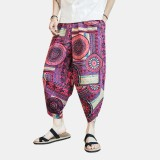 Mens Ethnic Style Printing Baggy Calf-Length Elastic Waist Casual Harem Pants