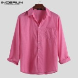 Men's Casual Long Sleeve Shirt Collar Neck Button Casual Formal Office Tees Tops