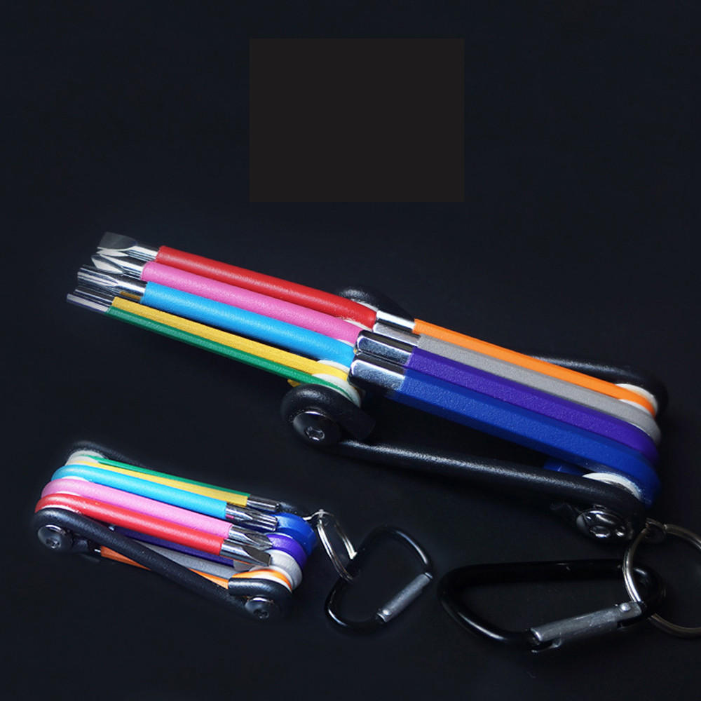 Drillpro 9Pcs 1.5mm-10mm Mini All-in-one Colorful Ball-End Hex L Wrench Key Screwdriver Set Powerful Repair Tools