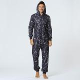 Men Casual Graffiti Print Black Jumpsuit Loungewear Loose Home Casual Hooded Pajamas