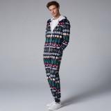 Mens Christmas Pattern Onesies Hooded Zip Down Holiday Pajama Set Printing Loungewear