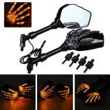 Motorcycle Turn Signal Indicator Light Skeleton Rearview 8mm Mirrors