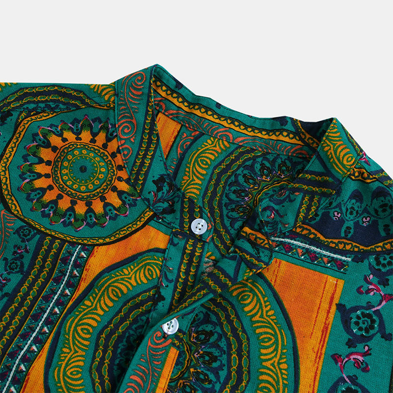 Men's Vintage Floral Ethnic T Shirts Summer Beach Dashiki Floral Casual Tops Tee