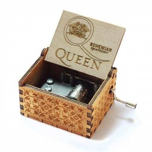 Retro Vintage Music Box Wood Hand Cranked Music Box Home Crafts Decor Xmas Gifts