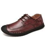 Men Anti-collision Toe Genuine Leather Pure Color Casual Business Oxfords