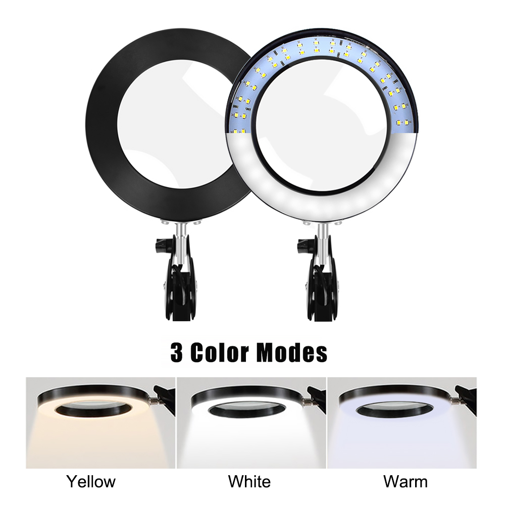 YG-811-1 5X 780mm Magnifying Lamp Illuminated Desktop Magnifier 14W LED Lamp with 81mm Clamp Swivel Arm or Reading with Dust Cover Care Tools